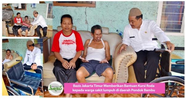 Bantuan kursi roda untuk warga yang sedang sakit lumpuh